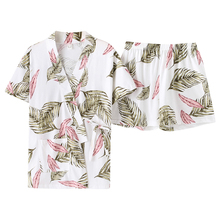 New Summer Yukata Pyjamas Women 100%Cotton Japanese kimono Top + Short Pants Plus Size 3XL Hawaiian Style Print Female Nightwear