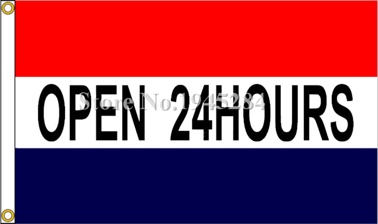 Open 24 Hours Store Sign Advertising Flag New 3x5ft 90x150cm Polyester Flag Banner, free shipping