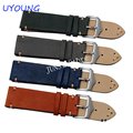 UYOUNG Watchband High Quality Scrub Genuine Leather Watch band 20mm 22mm Mens Blue Orange Watch Accessories
