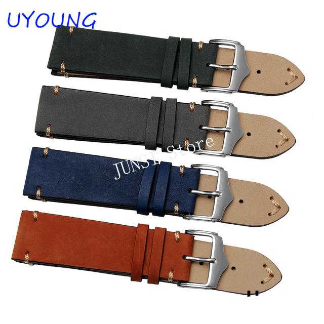 Uyoung pulseira de alta qualidade esfrega couro genuíno faixa de relógio 20mm 22mm mens blue orange watch acessórios