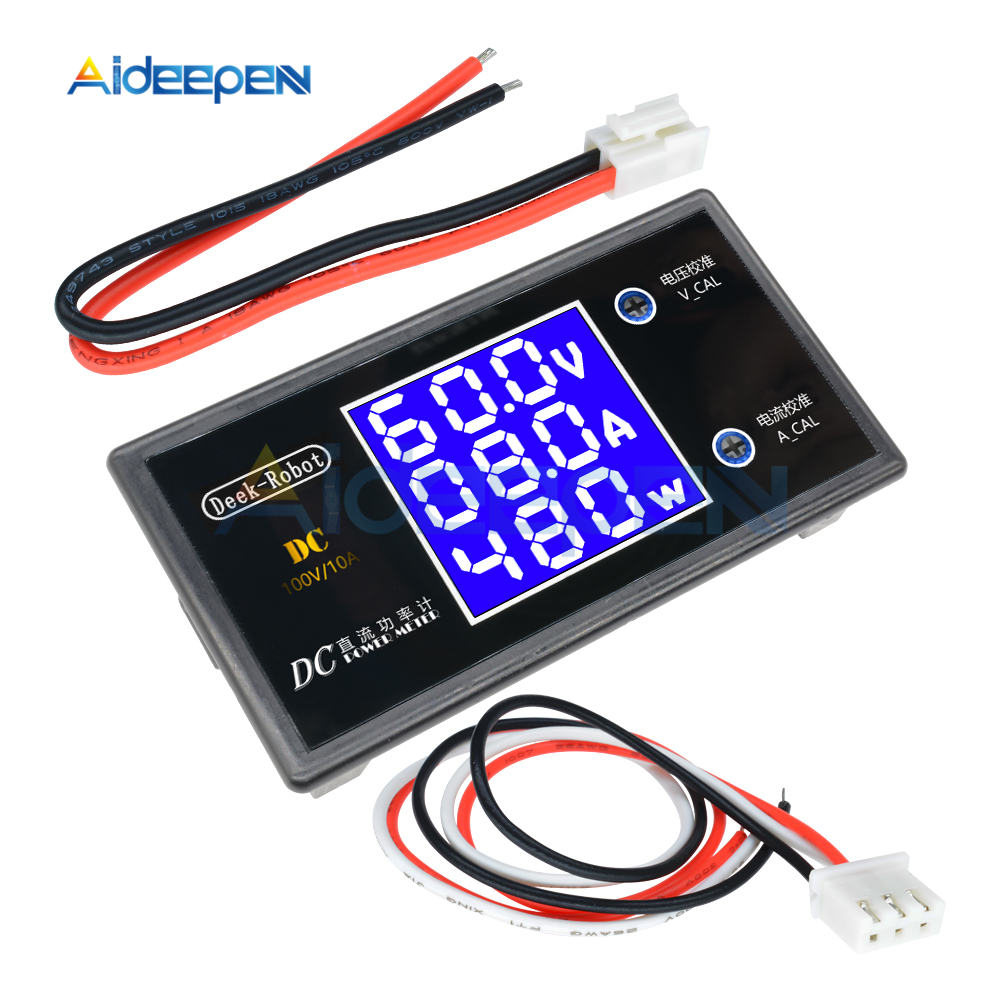 DC 0-100V 10A LCD affichage voltmètre numérique ampèremètre wattmètre tension courant puissance mètre Volt détecteur testeur 12V 24V 36V 1000W