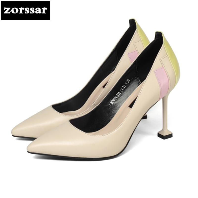 {Zorssar} Brand 2018 New fashion womens pumps shoes Thin Heels Genuine Leather Pointed toe Shallow High heels ladies shoes new 2017 spring summer women shoes pointed toe high quality brand fashion womens flats ladies plus size 41 sweet flock t179