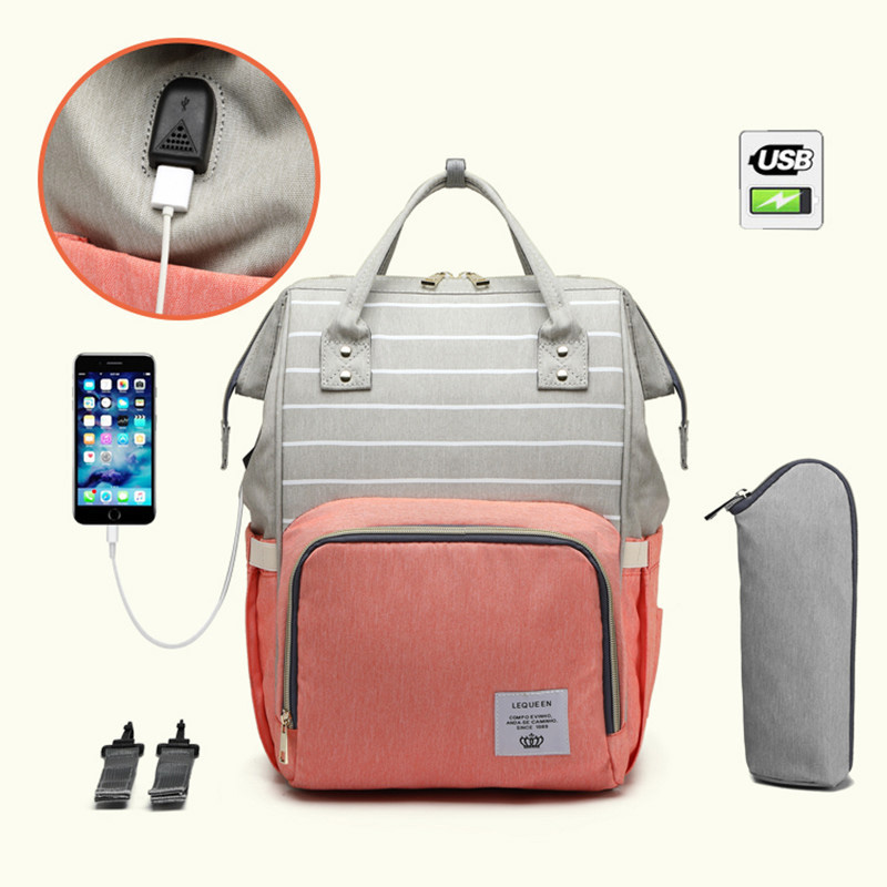 LEQUEEN USB Maternity Stroller Bag Mummy Nappy Handbag Large Capacity Baby Bag Organizer Travel Backpck Handbag Nursing Bag