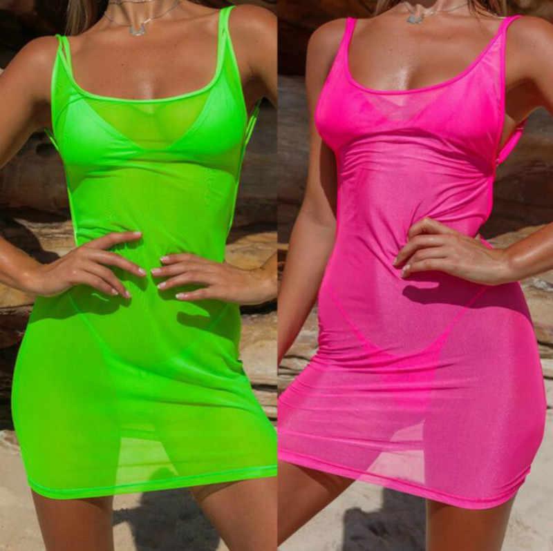 Модное неоновое зеленое розовое повседневное женское летнее платье без рукавов на бретелях сексуальное прозрачное Сетчатое Бандажное облегающее платье 2019 новое мини-платье