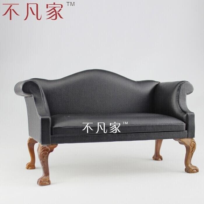 Fine BJD 1:6 poupée miniature meubles offre spéciale grande causeuse en cuir noir