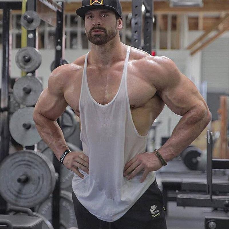 aecbfb25a50787 Q  Y Mens Bodybuilding Fitness Stringer Workout Muscle Vest Gym Tank Tops  Men