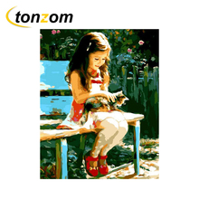 RIHE Girl With Cat Drawing By Numbers DIY Flower Chair Painting Handwork On Canvas Oil Wall Art Coloring Home Decor