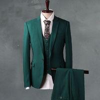 Men Green Wedding Suit Tuxedos Groomsmen Formal Jacket+Pants+Vest BEST Men Suits custom