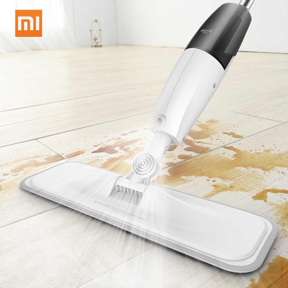 (Promoção) original Xiaomi Deerma Água Pulverização Mops 360 Rotating Mijia Piso Sweeper Aspirador de Pó De Fibra De Carbono Haste 350 ml Tanque