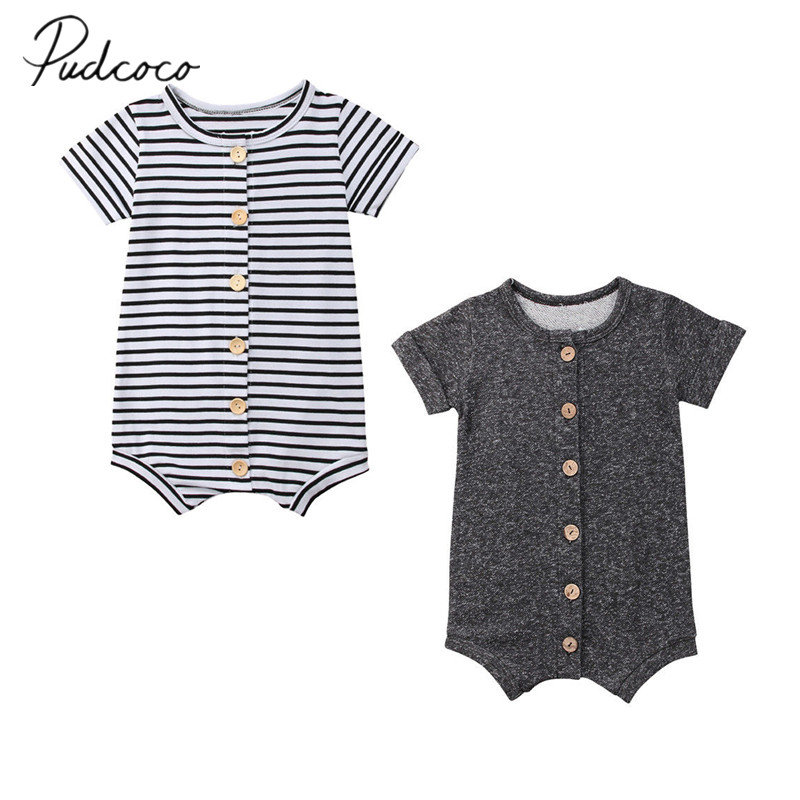 2018 Brand New Newborn Toddler Infant Baby Boys Girl Casual Romper Jumpsuit Cotton Short Sleeve Clothes Summer Sunsuit Outfits 0 24m baby girl clothes summer rompers newborn baby girl print romper jumpsuit infant headband clothes outfits set