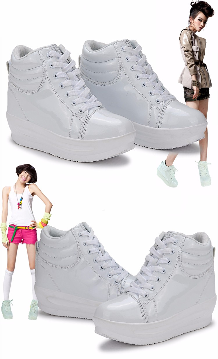 KUYUPP 2016 Fashion Hide Heel Women Casual Shoes Breathable Flat Platform Casual Women Shoes Patent Leather High Top Shoes YD105 (27)