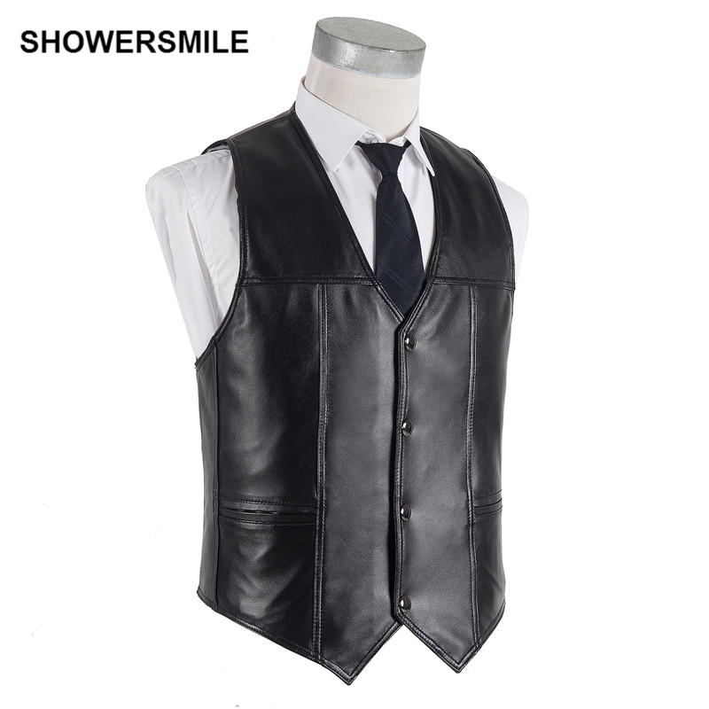 SHOWERSMILE Brand Plus Size Sheepskin Vest Winter Sleeveless Genuine Leather Jacket Men Black Waistcoat Male Oversized Gilet