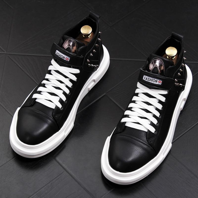 Estilo Inglaterra Sapato Botas Sapatos Respirável Clube Noite De Festa Martin Vestido Homens Plataforma Lazer Vaca Couro Rebite Design FRFxrn