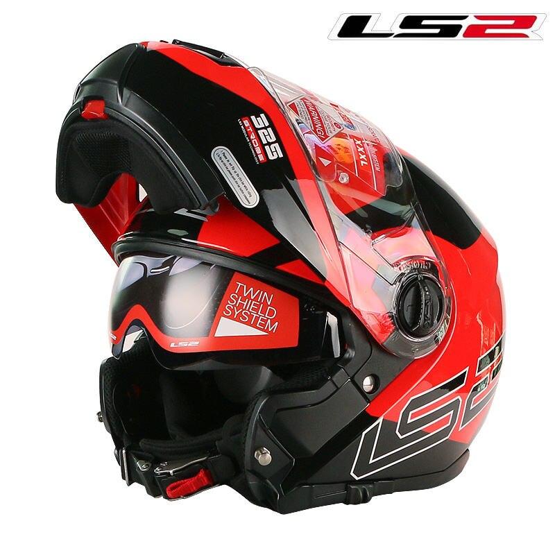 Vente chaude LS2 FF325 flip up moto rcycle casque individualité modulaire ECE moto casque double soleil objectif plein visage moto rbike casque