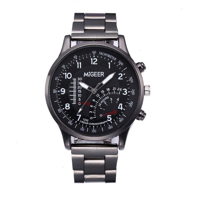 Fashion Man Design Stainless Steel Analog Alloy Quartz Wrist Watch date Quartz W