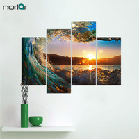 No Frame 4 Piece Canvas Art Printed Eye of The Screw Ocean Wave Seascape Wall Art Painting for Living Room Home Decor