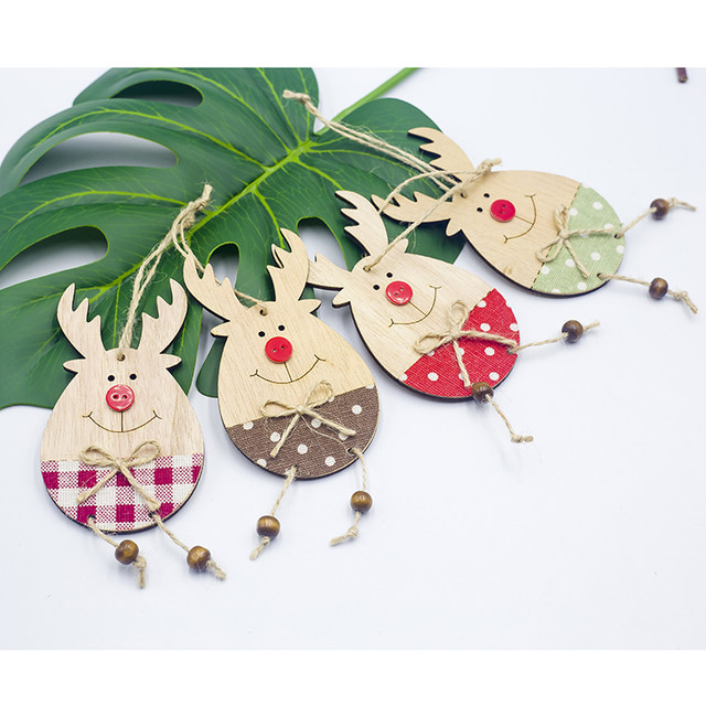 Cute Cartoon Smile Elk Wooden Ornament Christmas Tree Decoration Hanging Pendant Xmas Party Decor for Home Kids Gift Animal 2020 23