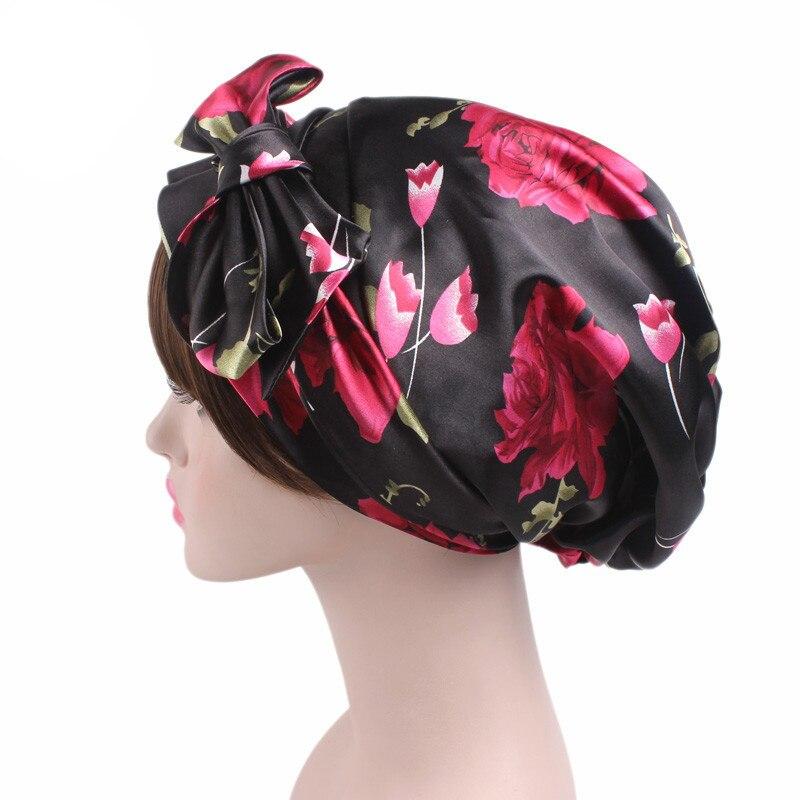 Womens Night Sleeping Cap Head Wrap Bowknot Turban Pre Tied Fitted Silk Satin Bandana Chemo Cap Head For Hair Loss Patients
