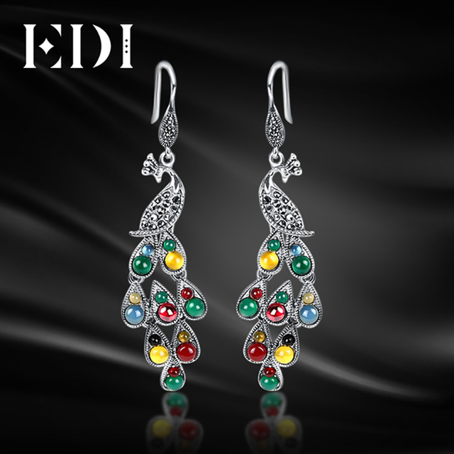 Edi Woman 925 Sterling Thai Silver Precious Stone Long Drop Earrings Phoenix Pea Feather Bohemian Dangle