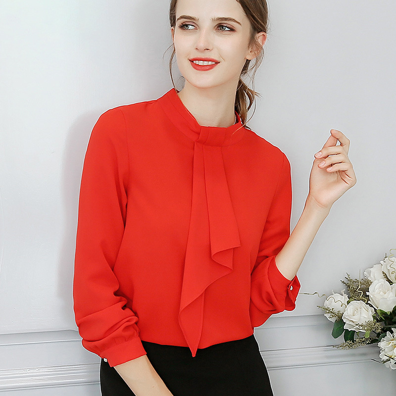 2018 Women Office Shirts Tops Spring Summer Blouses Fashion Sweet Office Plus  Size Red Slim Blouse Long Sleeve Casual Shirt 2XL-in Blouses   Shirts from  ... 43e6b7277bc2