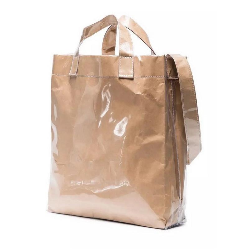 Vintage CDG Kraft Paper Shopping Bag Fashion PVC Clear Double Transparent Bag Waterproof Causal Tote Shoulder Bag Messenger Bag custom transparent clear pvc make up tote bag with double handles
