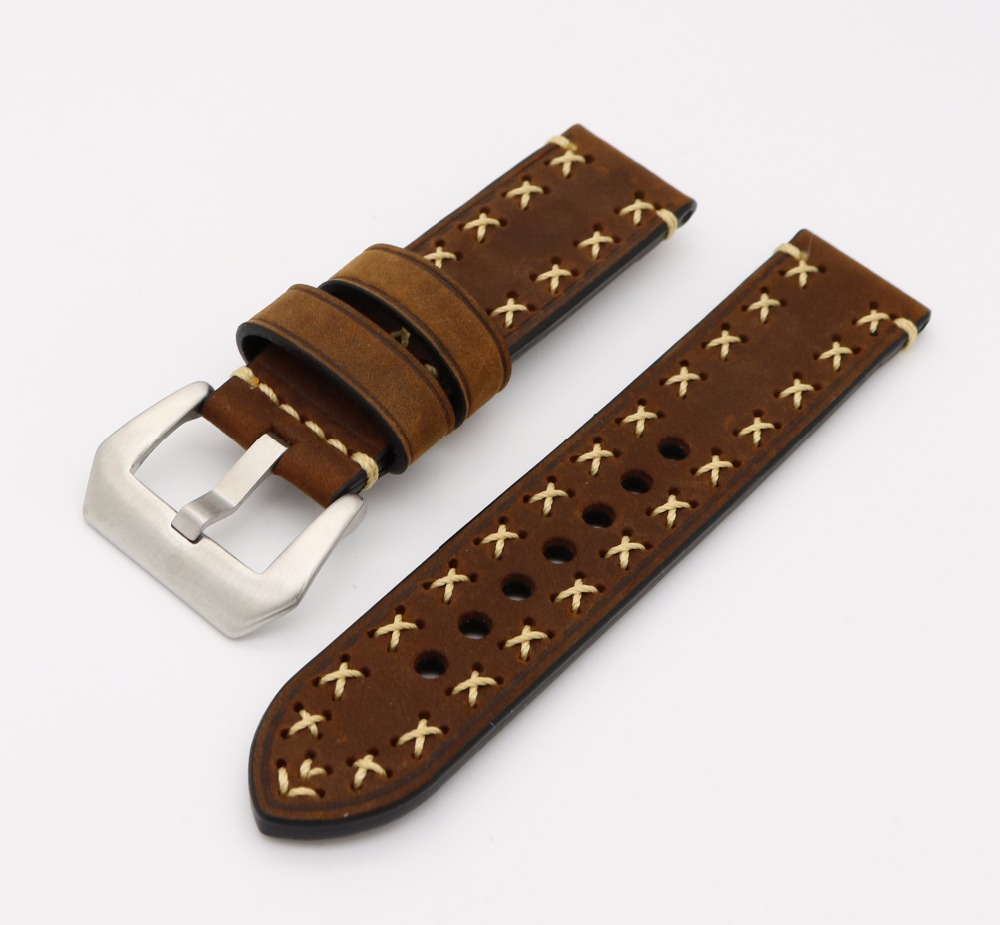 20 22 24 26mm 2016New Men women Dark Brown Watch Band Genuine Cowhide Leather Handmade Stitches Thick Band Strap Belt Pin Buckle 20 22 24 26 drawbars