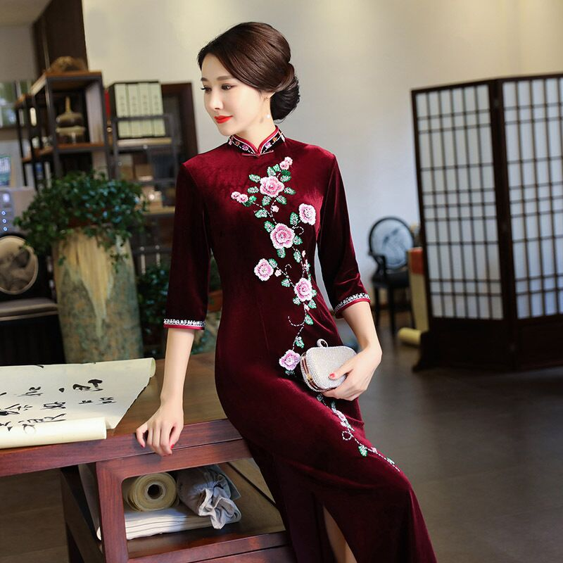 Fashion Women's Long Cheongsam New Arrival Chinese Velour Dress Elegant Slim Qipao Vestidos Plus Size S M L XL XXL XXXL 4XL 3966 женское платье other 2015 o vestidos s m l xl xxl