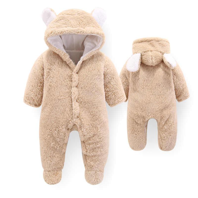 Neugeborenen baby winter warme strampler kleinkind jungen mädchen langarm samt dicken overalls für baby infant overalls weiche nachtwäsche