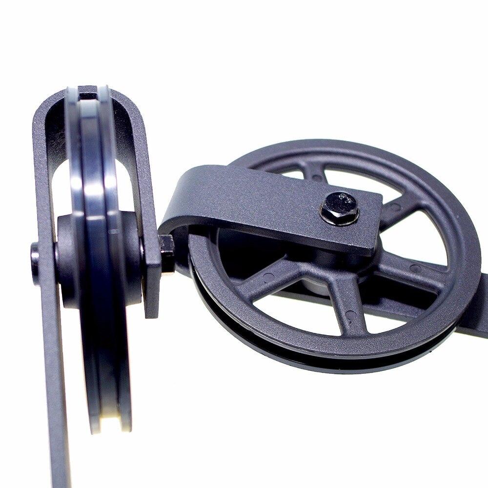 LWZH 14ft/15ft Vintage Style J-Shaped with Big Wheel Sliding Closet Door Track Barn Wood Door Hardware Track Kit for Single Door