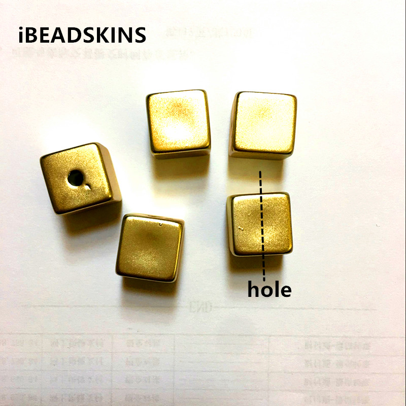 Aesthetic Appearance 15mm 100pcs/lot Print Gold Color Cube Shape Beads For Jewelry Diy Making Faithful New Arrival design As Shown