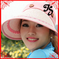 Newly women outdoor wide brim summer sun hat lady removeable foldable sun visor hat