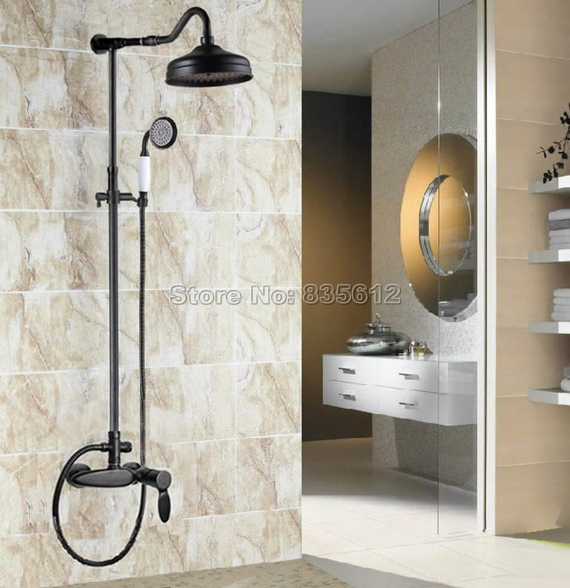 Bathroom Wall Mounted Oil Rubbed Bronze Rain Shower Faucet Set with Single Handle Tub Mixer Tap + Ceramic Handheld Shower Wrs723
