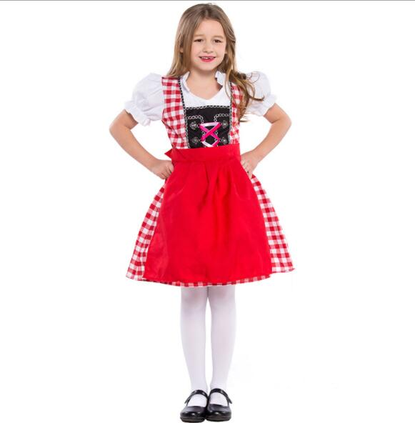 kid girl Germany Bavaria Oktoberfest beer festival work clothes Costume Halloween Carnival Party Cosplay Fancy shore dress A110