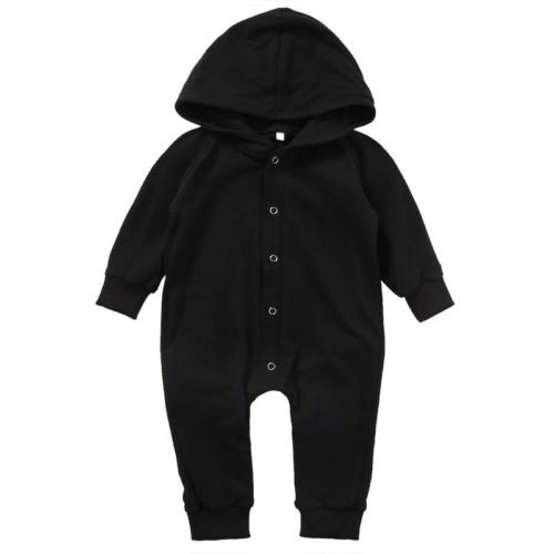 Newborn Baby Boys Girls Romper Solid Black Long Sleeve Hooded Rompers Children Clothing Girl Boy Jumpsuit Outfits Clothes cotton i must go print newborn infant baby boys clothes summer short sleeve rompers jumpsuit baby romper clothing outfits set