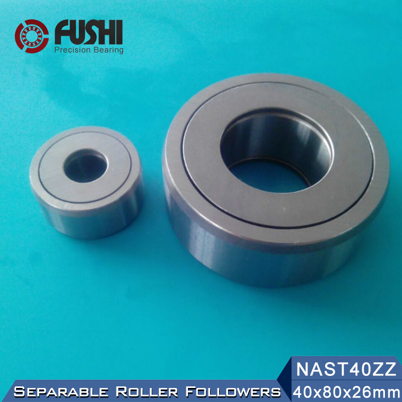 NAST40ZZ Roller Followers Bearing 40*80*26mm ( 1 PC ) Separable Type With Side Plates NAST40UUR Bearings na4910 heavy duty needle roller bearing entity needle bearing with inner ring 4524910 size 50 72 22