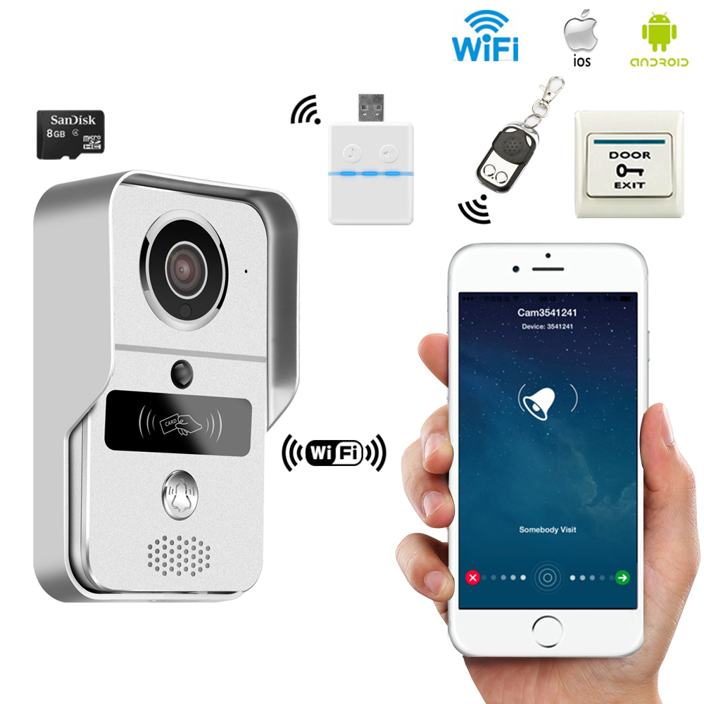 JEX Wireless WiFi Video Door phone Intercom Record Doorbell For Smartphone 720P 130 degree Camera View Unlock IOS Android jcsmarts rfid access wireless wifi ip doorbell camera video intercom for android ios smartphone remote view unlock with sd card