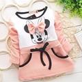 Cute baby menina 2-5Y vestido lolita rosa moda primavera outono dos desenhos animados Minnie Mouse manga comprida bow lace vestido de algodão Livre grátis