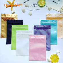 100 pcs Colorful Top Feed Foil Zip lock Bags Food Pouches,Mylar Aluminum Bags,Tea Pouches,mask bag Free Sipping