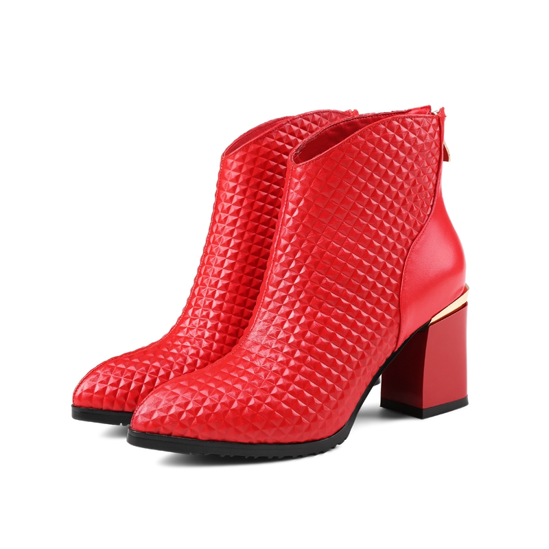 Hot sale Women Boots 2017 Square heel Pointed Toe Platform Shoes Buckle Autumn Winter Sexy Boots For Women Riding Ankle Boots