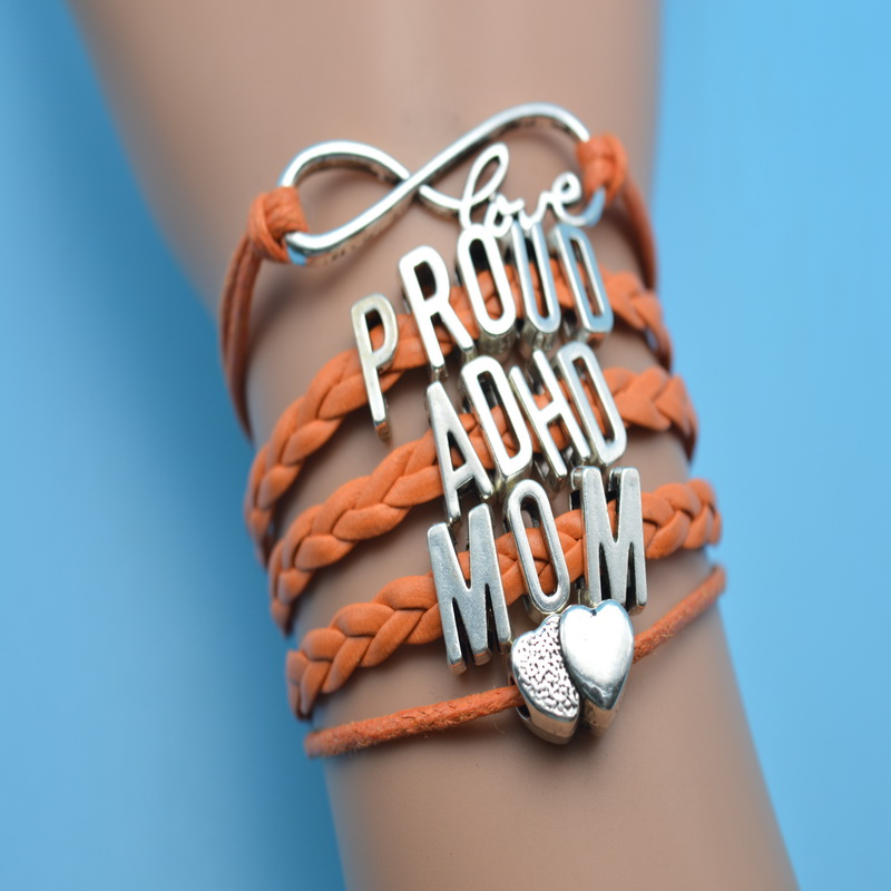 Infinity Love Proud Adhd Mom Grandmother Friend Auntie Sister Wife Charm Bracelets Orange Leather Rope Customize Perfect Bangles