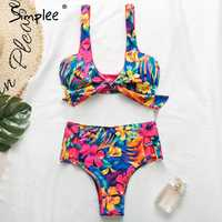 Simplee ruffle bikini 2019 One shoulder swimsuit female floral print swimwear women Bathing suit knot Two-piece suit bathers