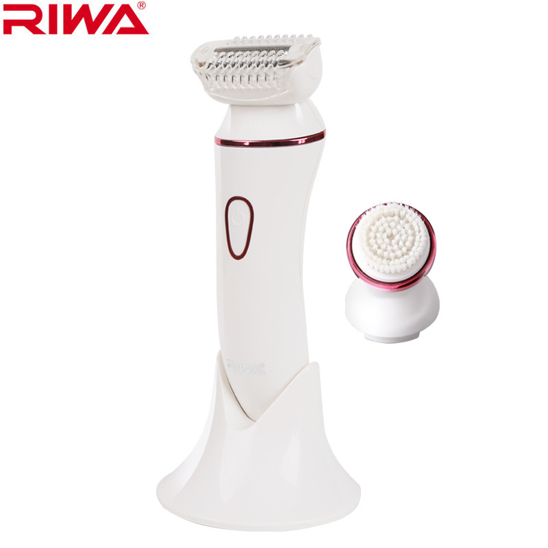 Riwa 2 in 1 Epilator facial cleaning shaving hair removal bikini underarm Rechargeable Wash the face brush washable 100-240V deep face cleansing brush facial cleanser 2 speeds electric face wash machine