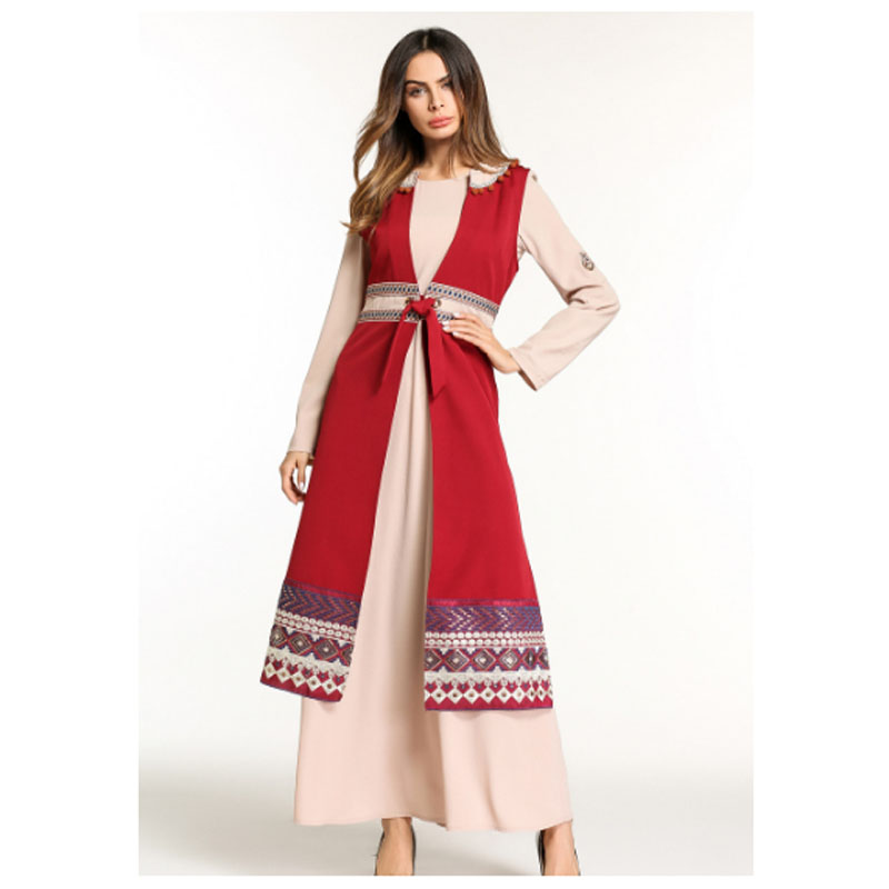 Red Pantskirt Two Piece Formal Dress For Middle East Arab,Women Retail Wholesale Embroidery Pathani Kurta Image For Robe Burqa