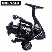 DASNAKI Spinning fishing reel Black 5.2:1 CNC handle Rust proof body Anti corrosion aluminum Spool extra Plastic Spool
