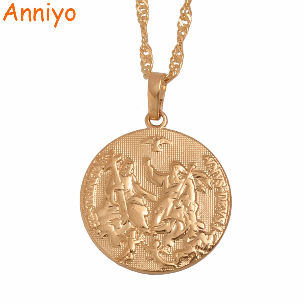 Anniyo Holy Spirit Cupid Jesus Pendant Necklaces Rose Gold Cross for Women Girls Christianity Religious Jewelry Gifts #060004
