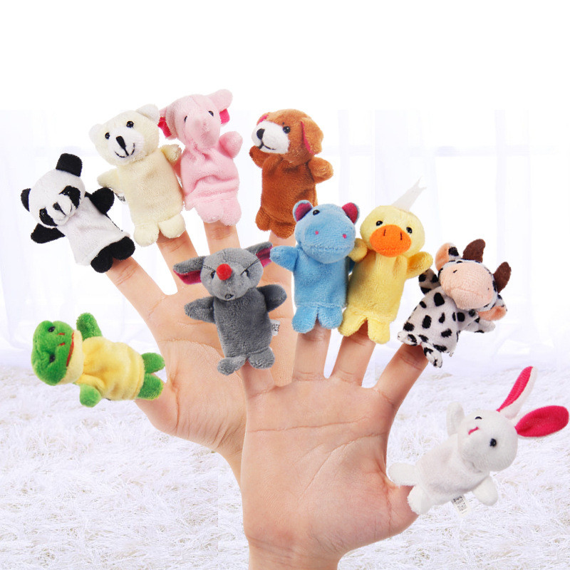 10pcs/lot Baby Plush Toys Happy Family Fun Cartoon Animal Finger Puppet Hand Kids Learning & Education Toys Gifts Figures
