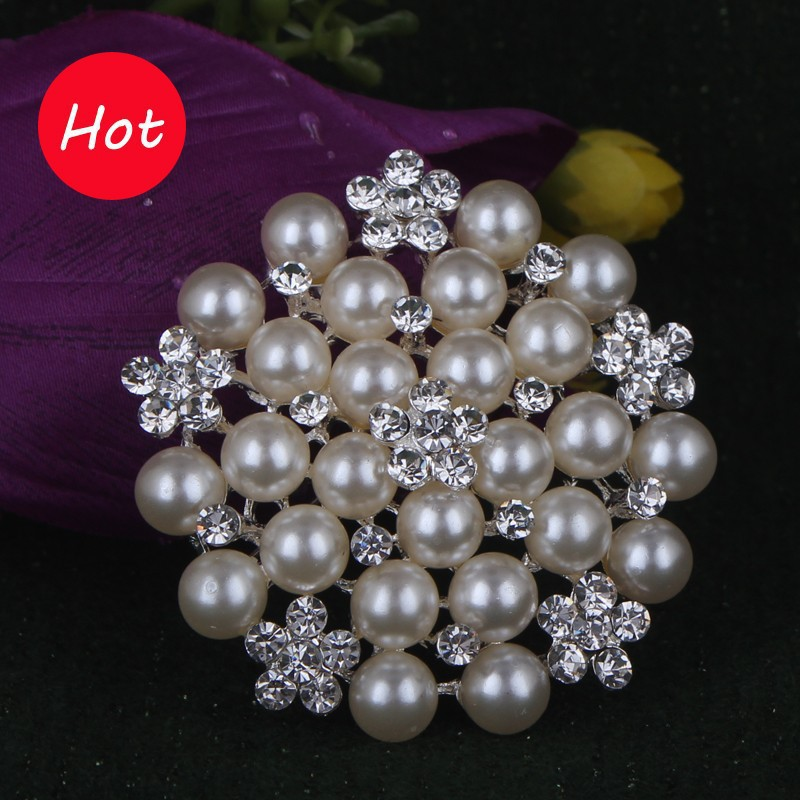 Silver Plated Brooch Simulated Pearl Rhinestone Brooch Brooches For Women Wedding Bouquets Collar Clip For Scarf Buckle pins