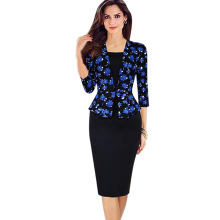 Womens Peplum Elegant Retro Faux Twinset Tartan Blue Floral Orchids Patchwork Wear to Work Business Pencil Sheath Bodycon Dress