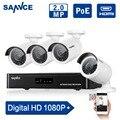 SANNCE 4CH 1080 P NVR Sistema CCTV POE 1080 P de Salida de Vídeo 4 UNIDS 1500TVL 2.0 mp CCTV IP Cámara de Seguridad Inicio de Vigilancia Kits HDD