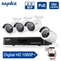 SANNCE 4CH 1080P CCTV System POE NVR 1080P Video Output 4PCS 1500TVL 2.0 mp CCTV IP Camera Home Security Surveillance Kits HDD